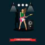 Girl Guitarist playing electric guitar on stage, vector illustration. Stock Images