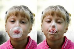 Girl with gum Royalty Free Stock Image