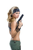 Girl with a gun. On white stock image