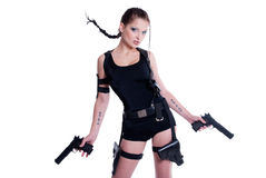 Girl with gun. Beautiful girl with gun on white background Stock Photos