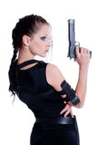 Girl with gun. Beautiful girl with gun on white background Royalty Free Stock Images
