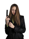 The girl with a gun. The beautiful girl dressed in black cloak with gun on a white background Stock Images