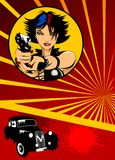 Girl with gun and car. Beautiful girl with a gun and a black car on a red background Stock Images