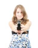 Girl with gun. Focus on gun only Royalty Free Stock Image