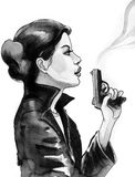 Girl with a gun. Ink illustration of a pretty woman holding a smoking gun Royalty Free Stock Photo