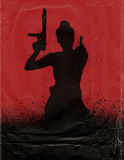 Girl With Gun Movie Poster. Girl with gun and (giving the finger) Movie Poster Royalty Free Stock Photo