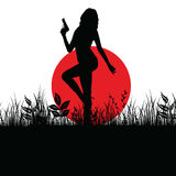 Girl with gun in nature silhouette illustration Stock Photo
