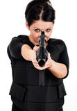 Girl with gun and paintball equipment Royalty Free Stock Photography