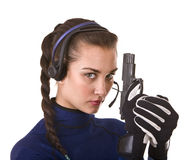 Girl with gun support customer. Royalty Free Stock Photo