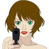 Girl with a gun on a white background. Raster Royalty Free Stock Images