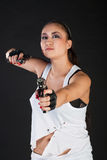 Girl with guns Stock Images