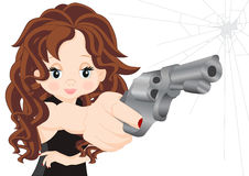Girl with guns. Girl in black dress with arms in hand Stock Photo
