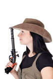 Girl with guns isolated Stock Image