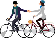 Girl and guy on the bicycle Royalty Free Stock Photo