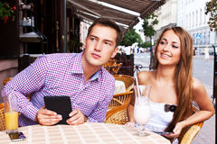 Girl with guy in cafe Royalty Free Stock Photos