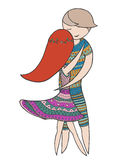 A girl and a guy dancing forro. Vector zen tangle illustration. Zentangle dance. Royalty Free Stock Photography