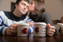 Girl with a guy drinking tea. Sweet girl drinking tea with a guy Stock Images