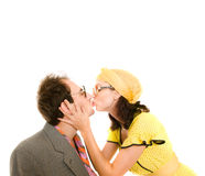 Girl and guy kiss. Isolation Stock Image