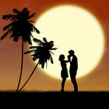 Girl and guy in love by sunset silhouette Stock Photo