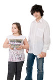 The girl and guy with monetary notes Stock Photo