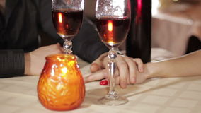Girl and guy romantic dinner. Young couple having dinner in a restaurant in a romantic setting stock footage