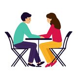 Girl and guy sitting at the table. A couple of man and woman talking. Vector illustration, white background stock illustration