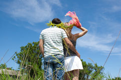 The girl and the guy with wreaths on the head Stock Photography