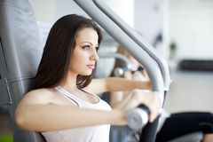 Girl in the gym Royalty Free Stock Image