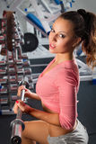 Girl in gym Bar Bench Press Royalty Free Stock Photo