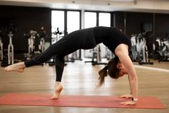 The girl in the gym does yoga to keep herself in shape or control excess weight.  royalty free stock photos