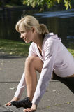 Girl in gym dress Stock Photo