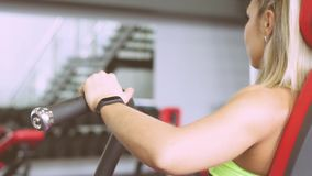 The girl is at the gym stock footage