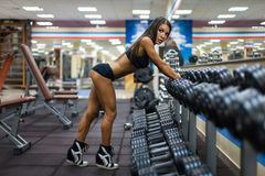 Girl in gym Stock Photo
