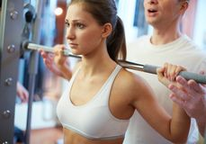 Girl in gym Royalty Free Stock Photography
