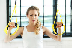 Girl in the gym royalty free stock photo