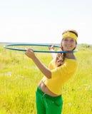Girl-gymnast against nature Stock Photos