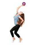 Girl gymnast  with a ball Royalty Free Stock Photography