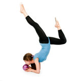 Girl gymnast  with a ball Royalty Free Stock Images