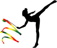 Girl gymnast black silhouette. And color ribbon for rhythmic gymnastics Royalty Free Stock Photos