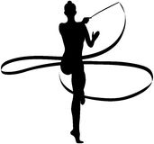 Girl gymnast with ribbon. Black silhouette girl gymnast with ribbon rhythmic gymnastics Stock Images