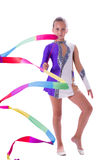 Girl gymnast with ribbon in hand Stock Photography
