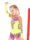 Girl gymnast with ribbon. Royalty Free Stock Photography