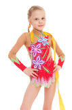 Girl gymnast with ribbon. stock photos