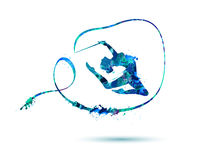 Girl gymnast with ribbon. Vector watercolor girl gymnast with ribbon. Sport Royalty Free Stock Photo