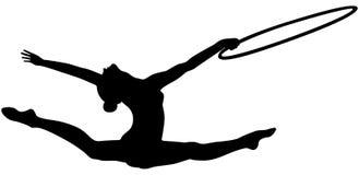 Girl gymnast splits jump. Hoop in rhythmic gymnastics black silhouette Stock Photo