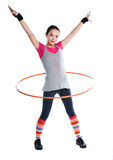 A girl and a gymnastics ring Royalty Free Stock Images