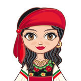 The girl in Gypsy dress. Historical clothes. Portrait, avatar. Stock Photo