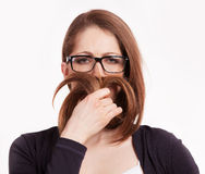 Girl had her mustache of his hair Royalty Free Stock Photos