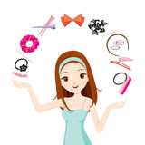 Girl With Hair Accessories. Accessories Coiffure Hairdressing Beauty Hairdo Lifestyle Fashion stock illustration