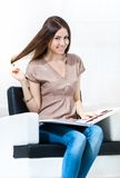 Girl with hair color sample in the hairdress salon Stock Images